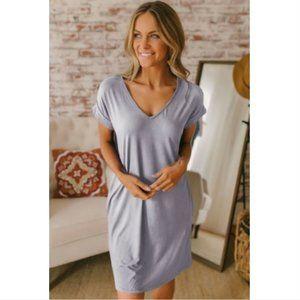 Gray V Neck Cuffed Casual T-shirt Dress
